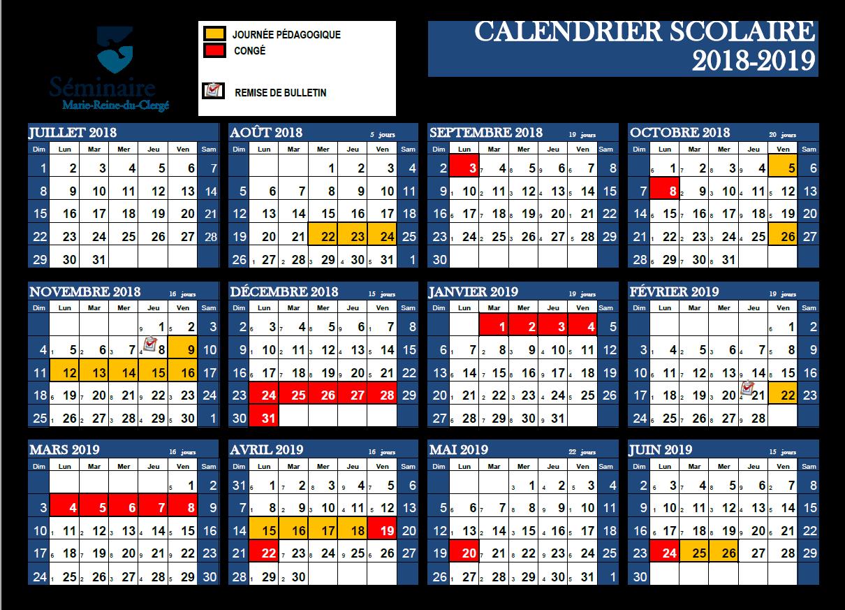 Calendrier 2019 Png.School Calendar Seminaire Marie Reine Du Clerge Ecole